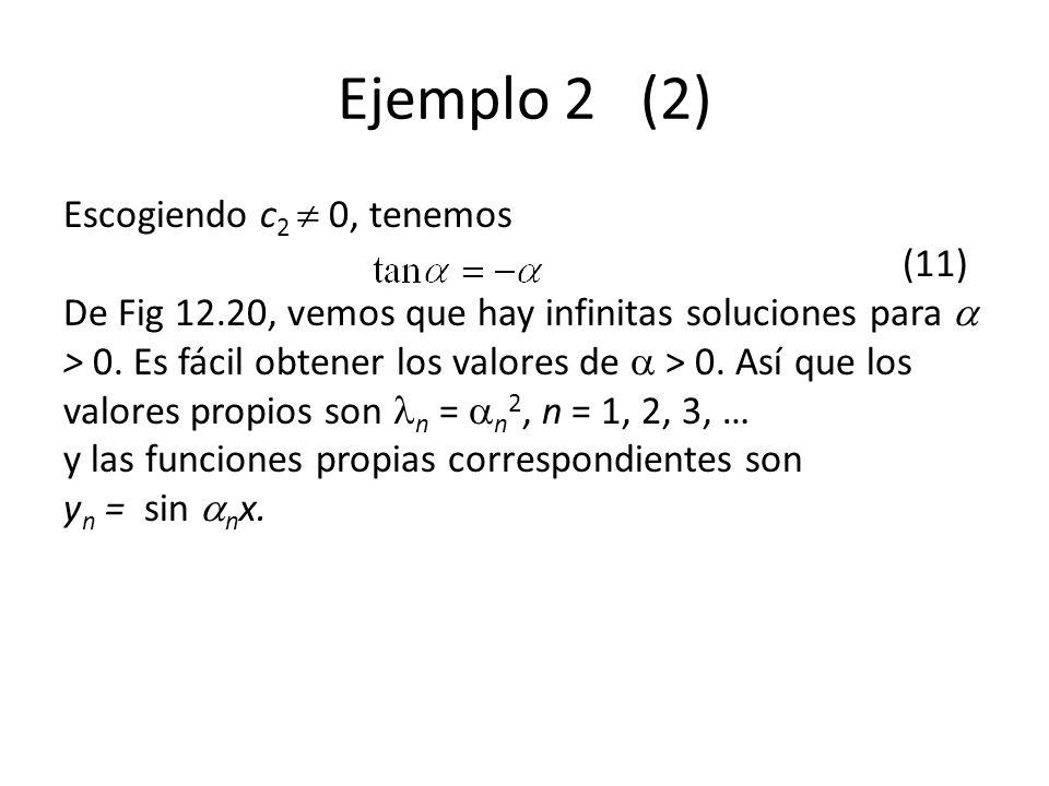 Ejemplo 2 (2) Escogiendo c 2 0, tenemos (11) De Fig 12.20, vemos que hay infinitas soluciones para > 0.