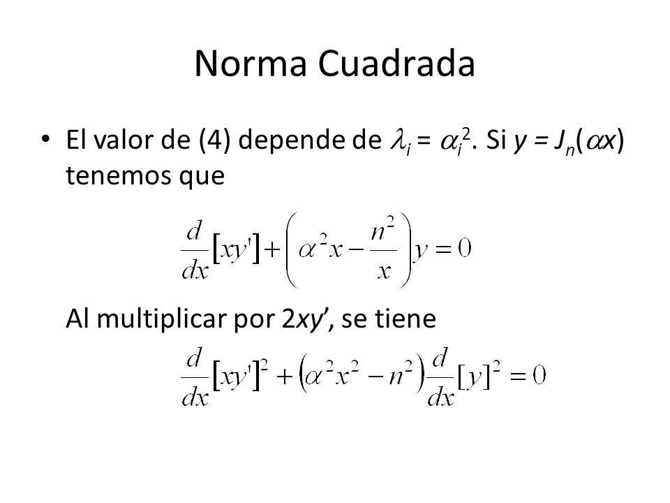 Norma Cuadrada El valor de (4) depende de i = i 2.