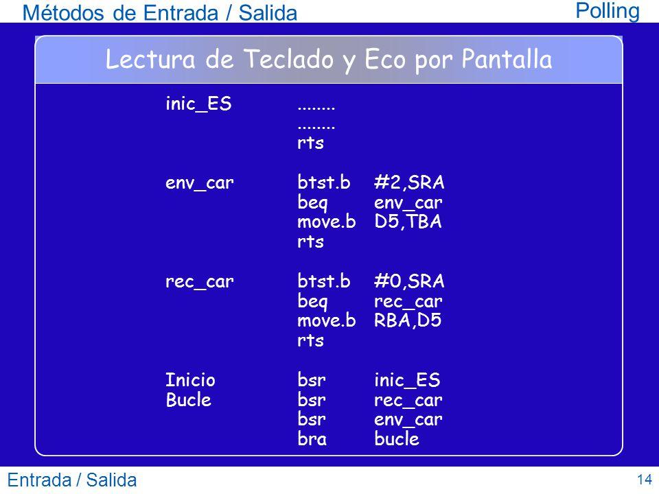 Entrada / Salida 14 Lectura de Teclado y Eco por Pantalla inic_ES................ rts env_carbtst.b #2,SRA beq env_car move.b D5,TBA rts rec_carbtst.b