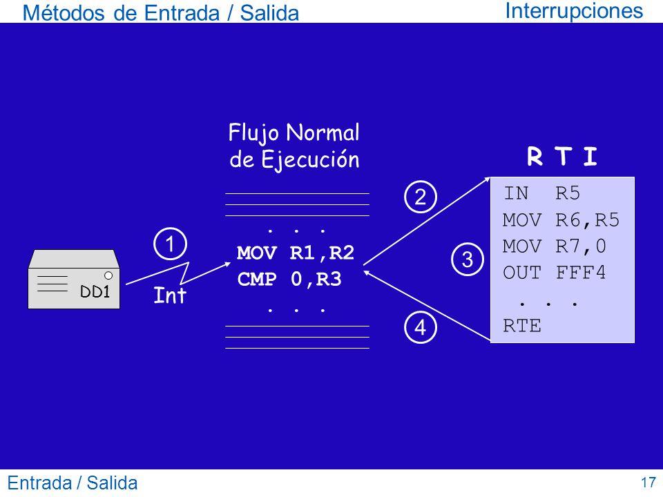Entrada / Salida 17 Métodos de Entrada / Salida Interrupciones... MOV R1,R2 CMP 0,R3... Flujo Normal de Ejecución R T I Int IN R5 MOV R6,R5 MOV R7,0 O