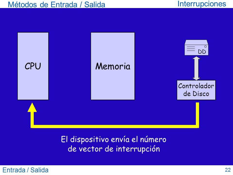 Entrada / Salida 22 Métodos de Entrada / Salida CPUMemoria DD Controlador de Disco El dispositivo envía el número de vector de interrupción Interrupci