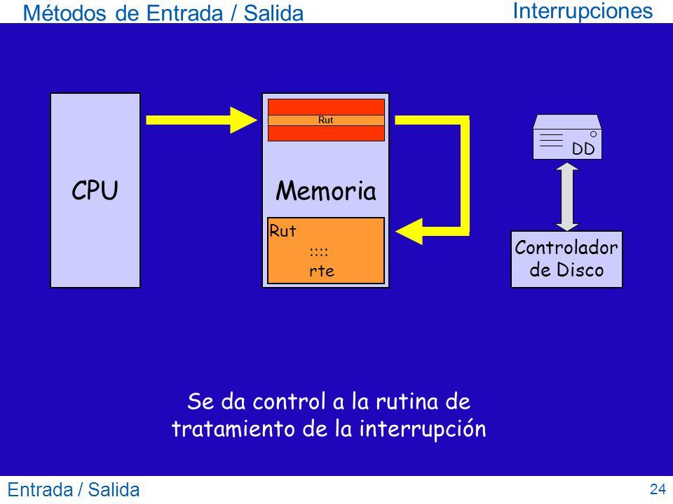 Entrada / Salida 24 Métodos de Entrada / Salida CPUMemoria DD Controlador de Disco Interrupciones Se da control a la rutina de tratamiento de la inter