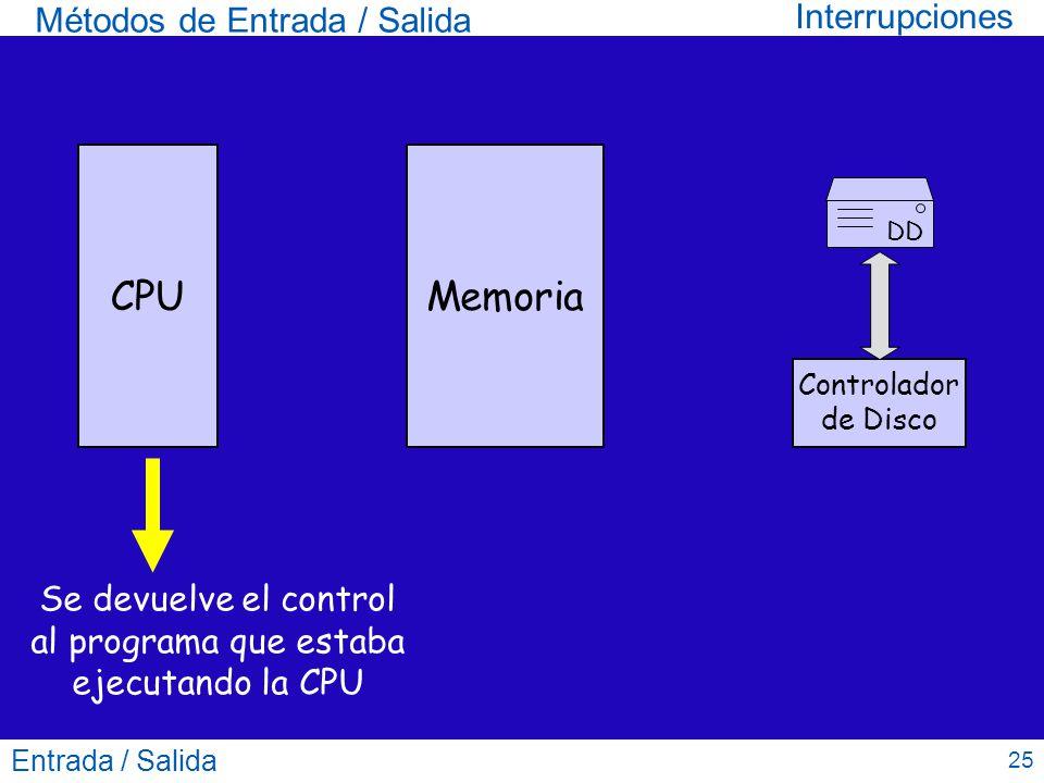 Entrada / Salida 25 Métodos de Entrada / Salida CPUMemoria DD Controlador de Disco Se devuelve el control al programa que estaba ejecutando la CPU Int