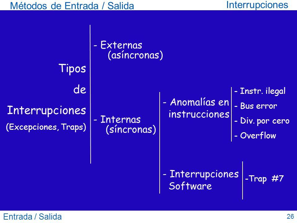 Entrada / Salida 26 Métodos de Entrada / Salida Interrupciones Tipos de Interrupciones (Excepciones, Traps) - Anomalías en instrucciones - Interrupcio