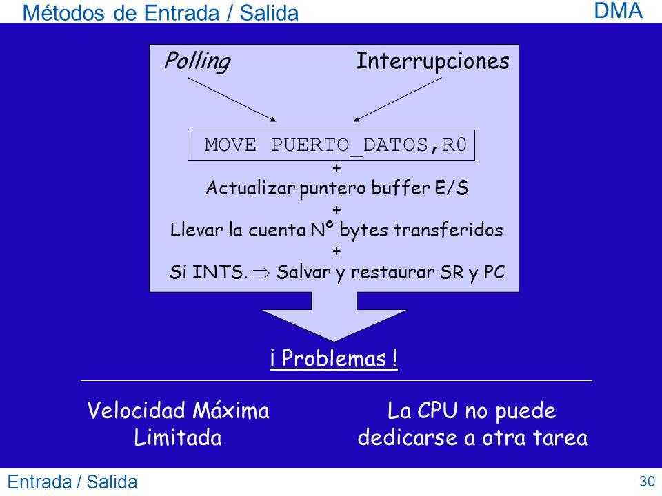 Entrada / Salida 30 Métodos de Entrada / Salida DMA PollingInterrupciones MOVE PUERTO_DATOS,R0 + Actualizar puntero buffer E/S + Llevar la cuenta Nº b