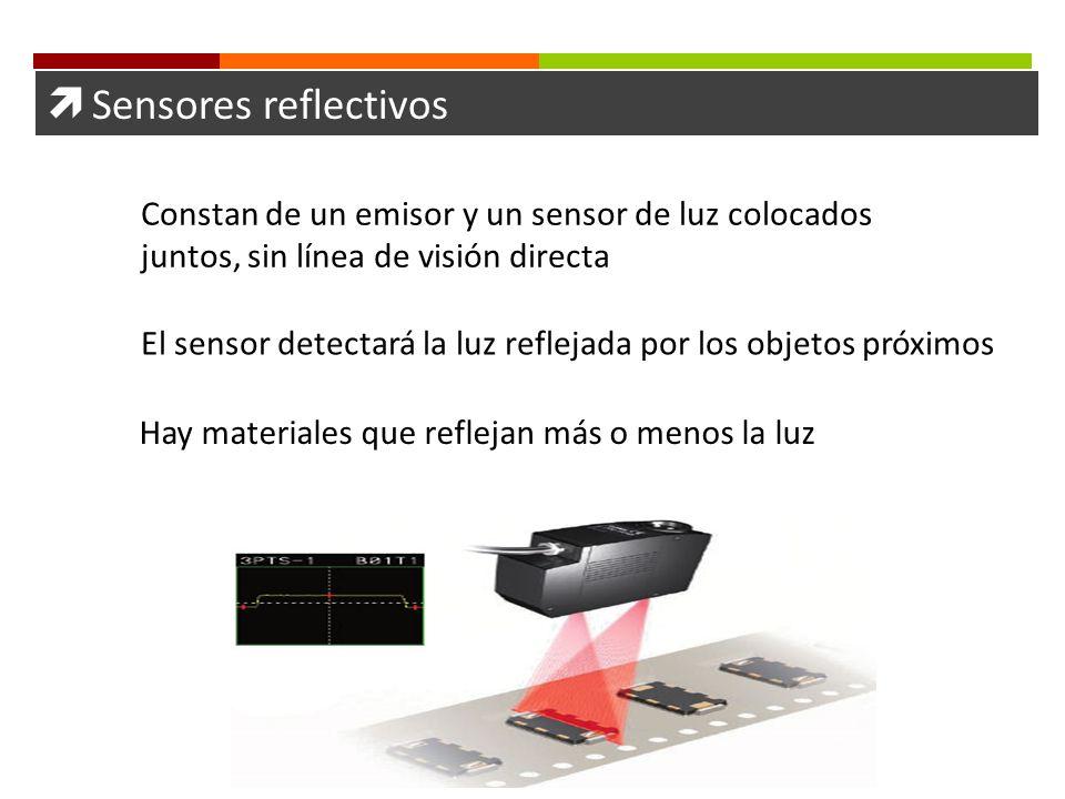 Sensores reflectivos Constan de un emisor y un sensor de luz colocados juntos, sin línea de visión directa El sensor detectará la luz reflejada por lo