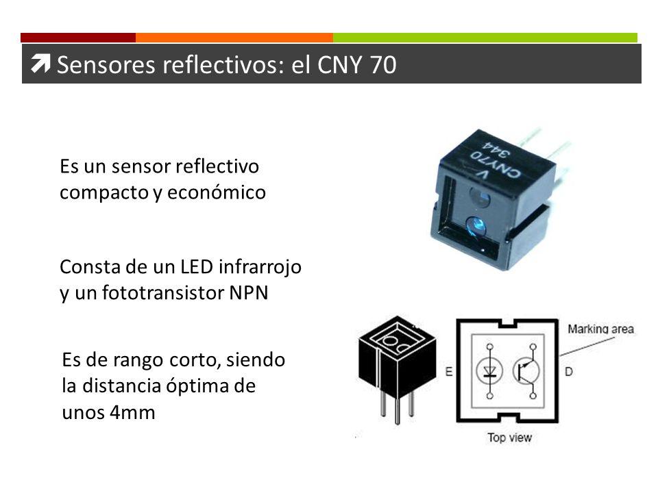 Sensores reflectivos: el CNY 70 Es un sensor reflectivo compacto y económico Consta de un LED infrarrojo y un fototransistor NPN Es de rango corto, si