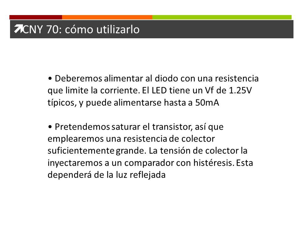 CNY 70: cómo utilizarlo Deberemos alimentar al diodo con una resistencia que limite la corriente. El LED tiene un Vf de 1.25V típicos, y puede aliment