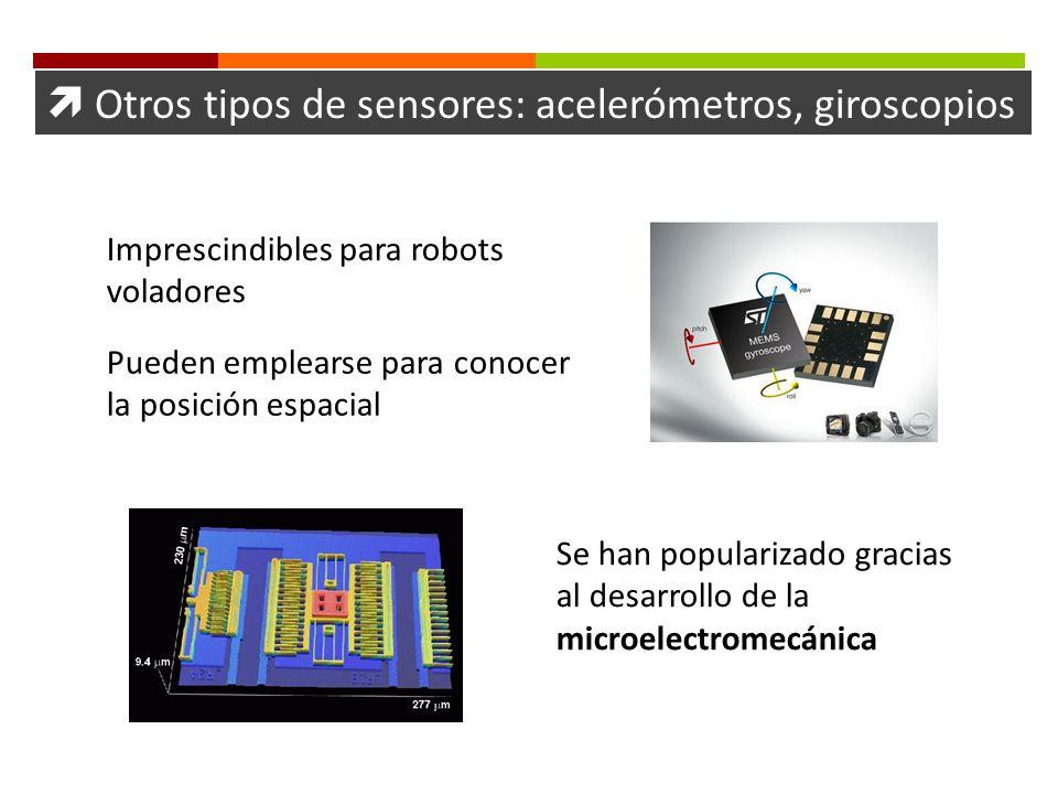 Otros tipos de sensores: acelerómetros, giroscopios Imprescindibles para robots voladores Pueden emplearse para conocer la posición espacial Se han po