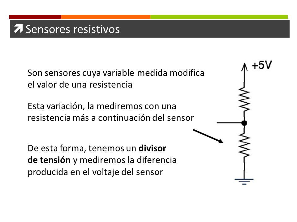 Sensores resistivos Son sensores cuya variable medida modifica el valor de una resistencia Esta variación, la mediremos con una resistencia más a cont
