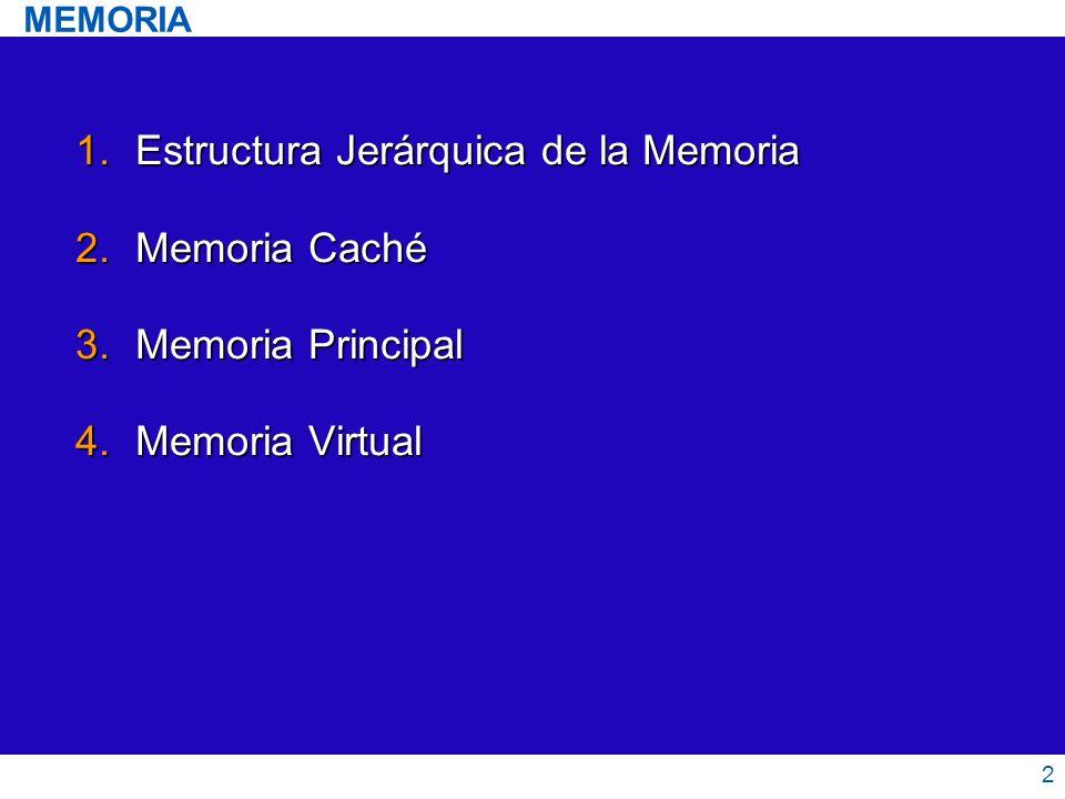 2 1.Estructura Jerárquica de la Memoria 2.Memoria Caché 3.Memoria Principal 4.Memoria Virtual MEMORIA