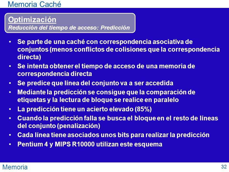 Memoria Memoria Caché Optimización Reducción del tiempo de acceso: Predicción Se parte de una caché con correspondencia asociativa de conjuntos (menos