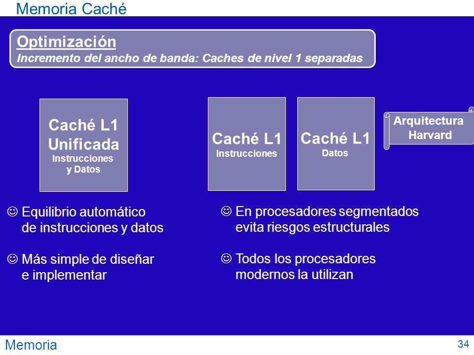 Memoria Memoria Caché Optimización Incremento del ancho de banda: Caches de nivel 1 separadas Caché L1 Unificada Instrucciones y Datos Caché L1 Instru