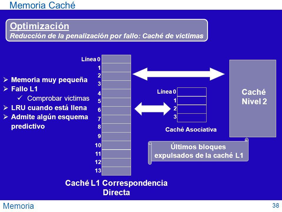 Memoria Memoria Caché Optimización Reducción de la penalización por fallo: Caché de victimas Línea 0 1 2 3 4 5 6 7 8 9 10 11 12 13 Caché L1 Correspond