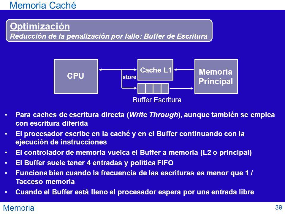 Memoria Memoria Caché Optimización Reducción de la penalización por fallo: Buffer de Escritura CPU Cache L1 Buffer Escritura Memoria Principal Para ca