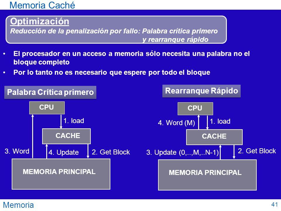 Memoria Memoria Caché Optimización Reducción de la penalización por fallo: Palabra crítica primero y rearranque rápido El procesador en un acceso a me