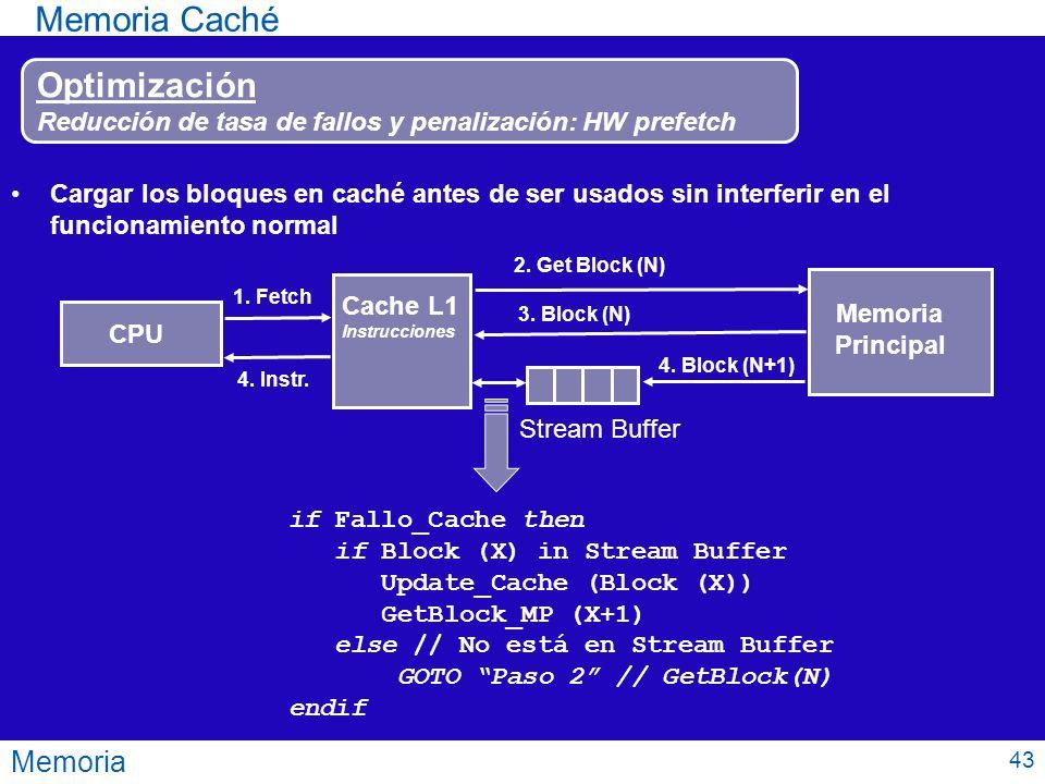 Memoria Memoria Caché Optimización Reducción de tasa de fallos y penalización: HW prefetch Cargar los bloques en caché antes de ser usados sin interfe