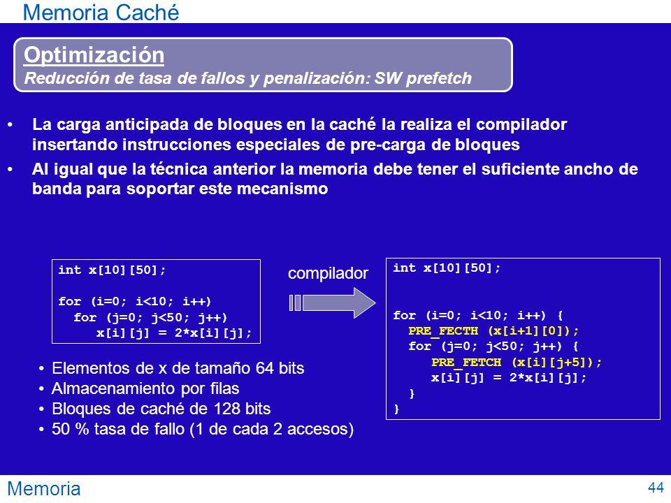 Memoria Memoria Caché Optimización Reducción de tasa de fallos y penalización: SW prefetch La carga anticipada de bloques en la caché la realiza el co
