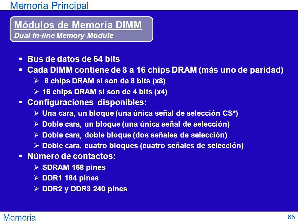 Memoria Memoria Principal Módulos de Memoria DIMM Dual In-line Memory Module Bus de datos de 64 bits Cada DIMM contiene de 8 a 16 chips DRAM (más uno