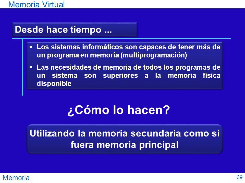 Memoria Memoria Virtual Desde hace tiempo... ¿Cómo lo hacen? Los sistemas informáticos son capaces de tener más de un programa en memoria (multiprogra