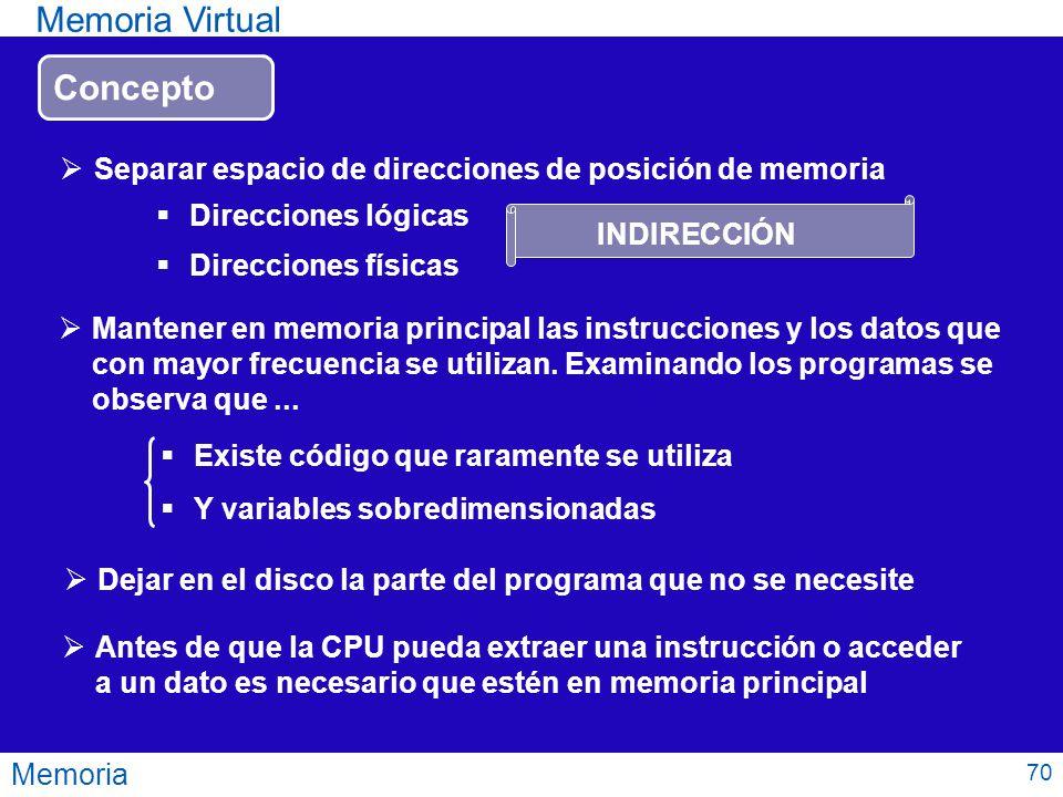 Memoria Memoria Virtual Mantener en memoria principal las instrucciones y los datos que con mayor frecuencia se utilizan. Examinando los programas se