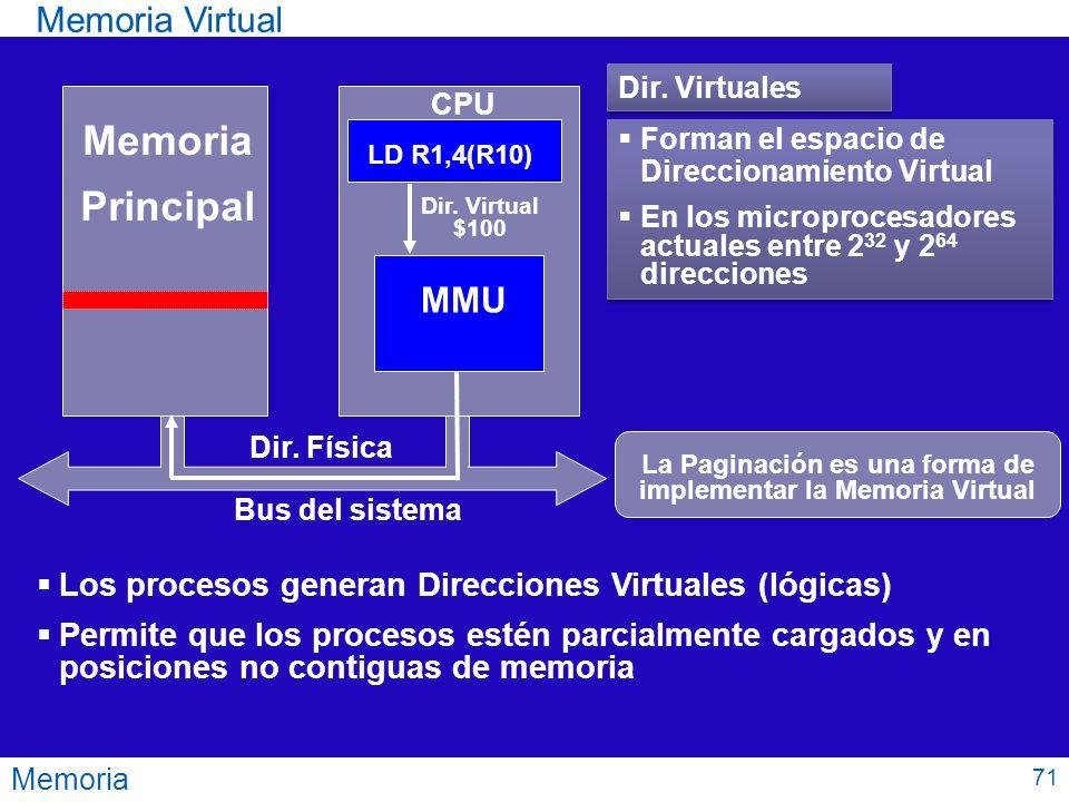 Memoria Memoria Virtual Memoria Principal CPU Bus del sistema Permite que los procesos estén parcialmente cargados y en posiciones no contiguas de mem