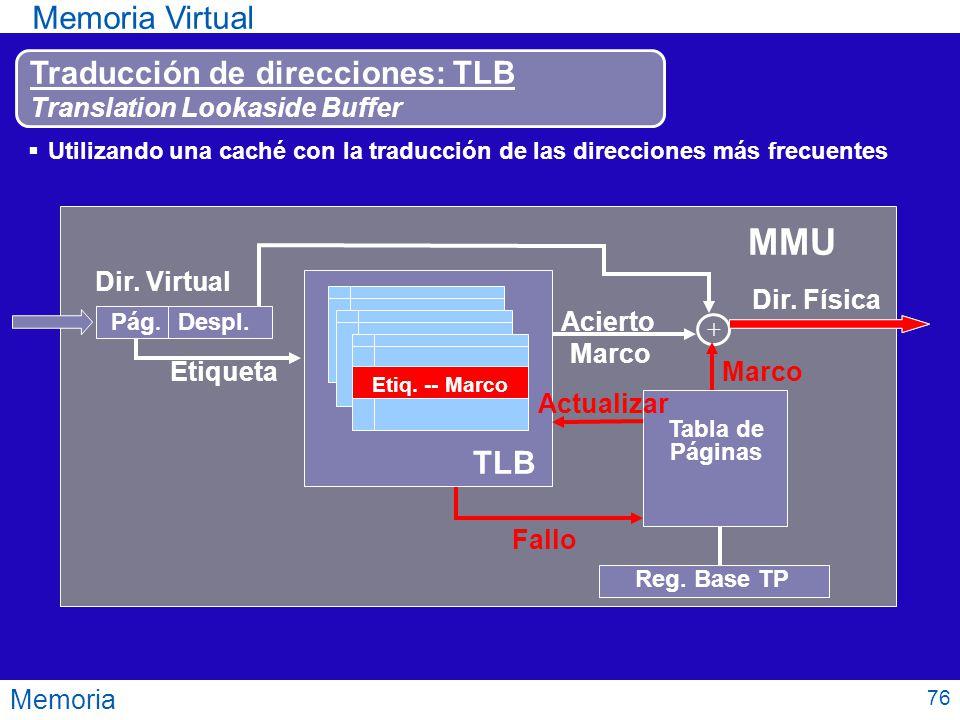 Memoria Memoria Virtual 76 MMU Reg. Base TP Tabla de Páginas Fallo Utilizando una caché con la traducción de las direcciones más frecuentes Dir. Virtu