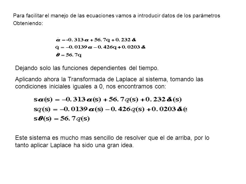Para facilitar el manejo de las ecuaciones vamos a introducir datos de los parámetros Obteniendo: Dejando solo las funciones dependientes del tiempo.