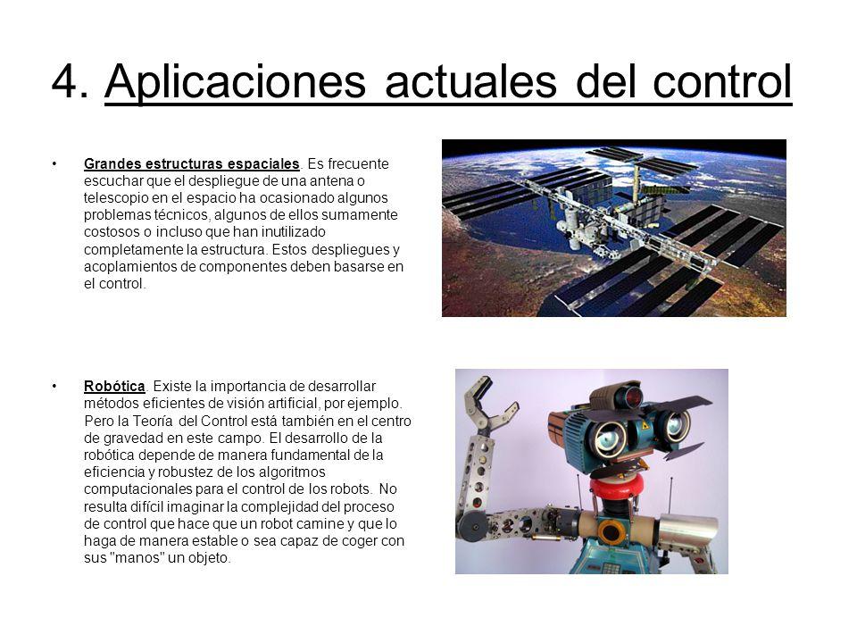 4. Aplicaciones actuales del control Grandes estructuras espaciales. Es frecuente escuchar que el despliegue de una antena o telescopio en el espacio