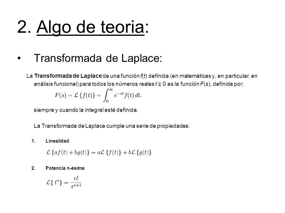 2. Algo de teoria: Transformada de Laplace: La Transformada de Laplace de una función f(t) definida (en matemáticas y, en particular, en análisis func