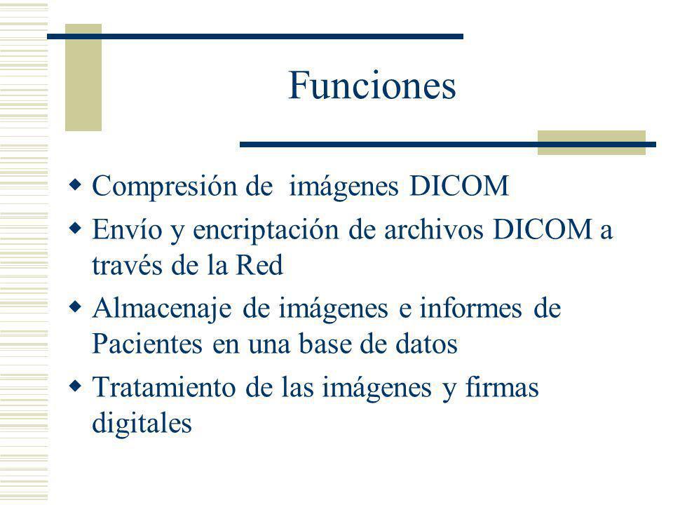 Funciones Compresión de imágenes DICOM Envío y encriptación de archivos DICOM a través de la Red Almacenaje de imágenes e informes de Pacientes en una