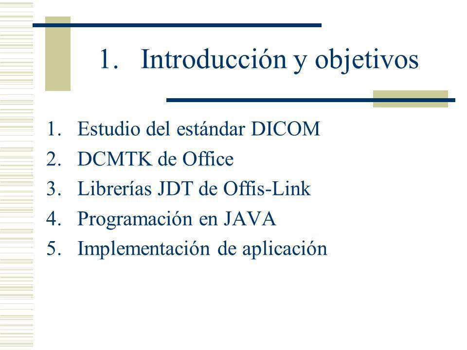1.Introducción y objetivos 1.Estudio del estándar DICOM 2.DCMTK de Office 3.Librerías JDT de Offis-Link 4.Programación en JAVA 5.Implementación de apl