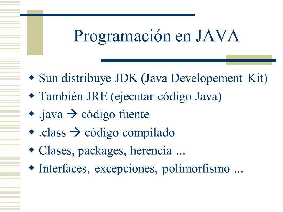 Programación en JAVA Sun distribuye JDK (Java Developement Kit) También JRE (ejecutar código Java).java código fuente.class código compilado Clases, p