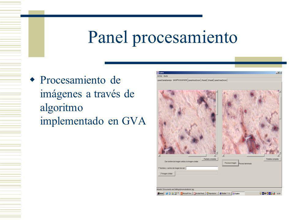 Panel procesamiento Procesamiento de imágenes a través de algoritmo implementado en GVA