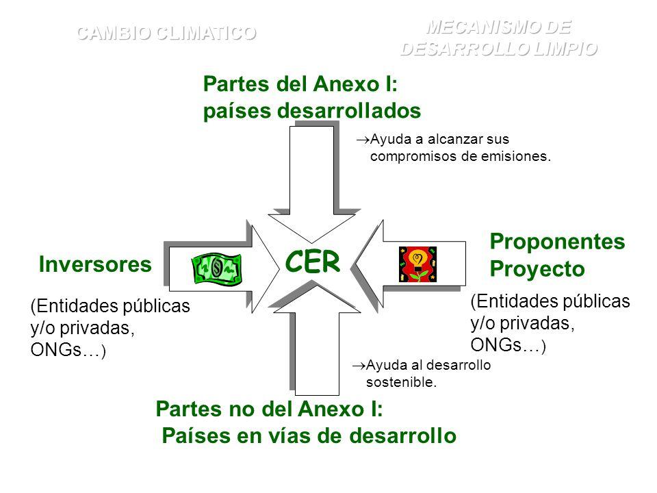 Partes del Anexo I: países desarrollados Ayuda a alcanzar sus compromisos de emisiones. Inversores Partes no del Anexo I: Países en vías de desarrollo