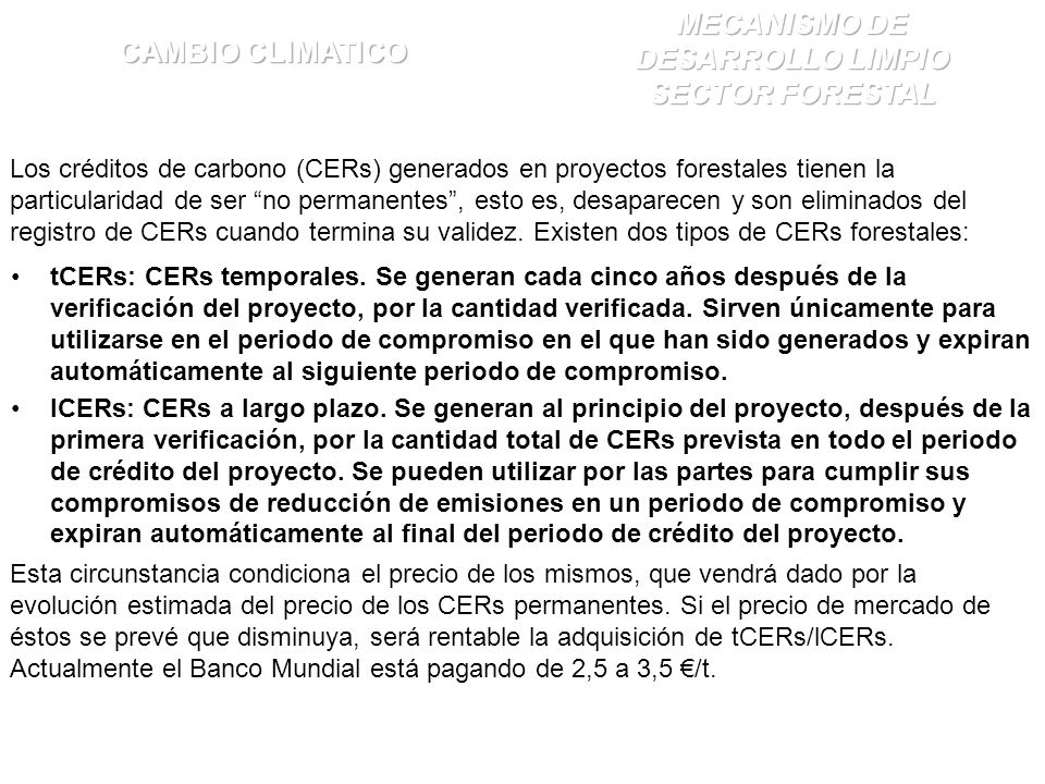 tCERs: CERs temporales.