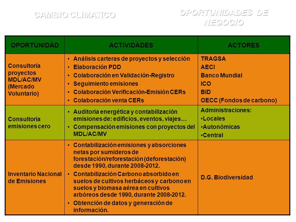OPORTUNIDADACTIVIDADESACTORES Consultoría proyectos MDL/AC/MV (Mercado Voluntario) Análisis carteras de proyectos y selección Elaboración PDD Colaboración en Validación-Registro Seguimiento emisiones Colaboración Verificación-Emisión CERs Colaboración venta CERs TRAGSA AECI Banco Mundial ICO BID OECC (Fondos de carbono) Consultoría emisiones cero Auditoria energética y contabilización emisiones de: edificios, eventos, viajes… Compensación emisiones con proyectos del MDL/AC/MV Administraciones: Locales Autonómicas Central Inventario Nacional de Emisiones Contabilización emisiones y absorciones netas por sumideros de forestación/reforestación (deforestación) desde 1990, durante 2008-2012.