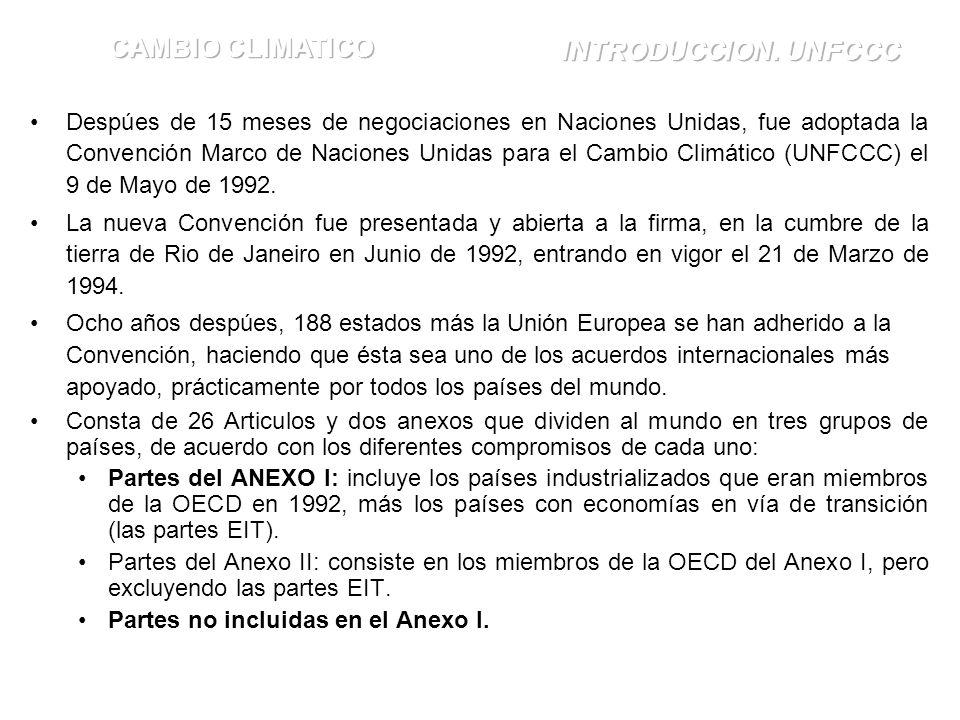 Despúes de 15 meses de negociaciones en Naciones Unidas, fue adoptada la Convención Marco de Naciones Unidas para el Cambio Climático (UNFCCC) el 9 de Mayo de 1992.