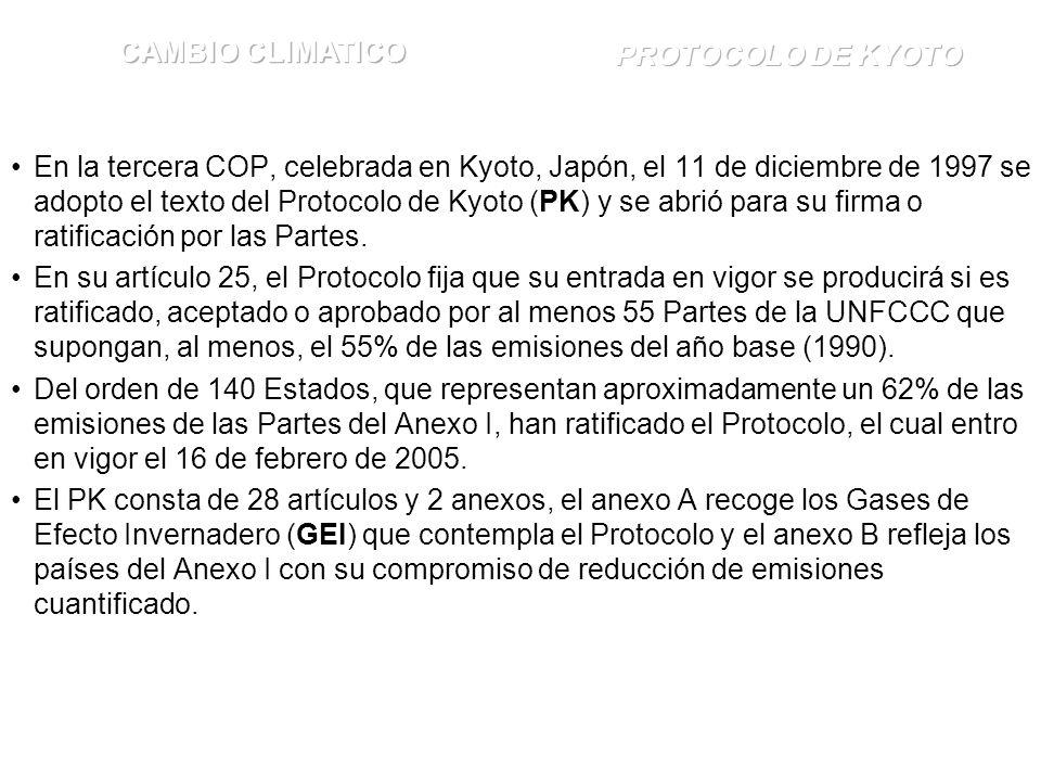 En la tercera COP, celebrada en Kyoto, Japón, el 11 de diciembre de 1997 se adopto el texto del Protocolo de Kyoto (PK) y se abrió para su firma o ratificación por las Partes.