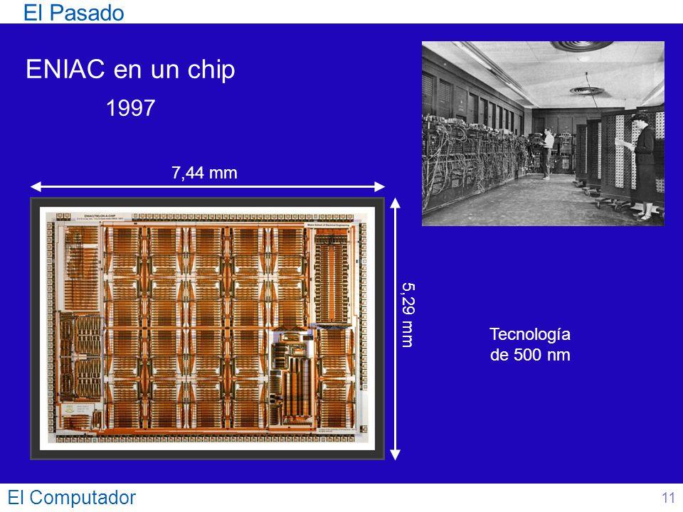El Computador 11 ENIAC en un chip 1997 7,44 mm 5,29 mm El Pasado Tecnología de 500 nm