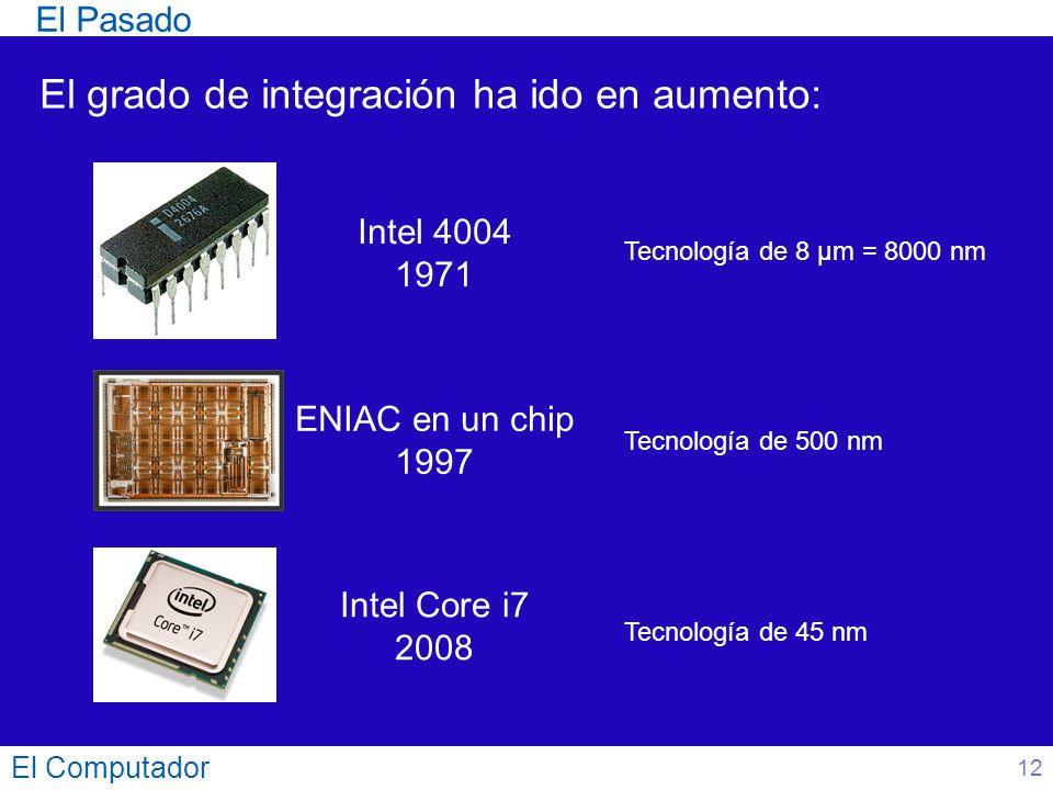 El Computador 12 El Pasado El grado de integración ha ido en aumento: ENIAC en un chip 1997 Tecnología de 500 nm Intel Core i7 2008 Tecnología de 45 n