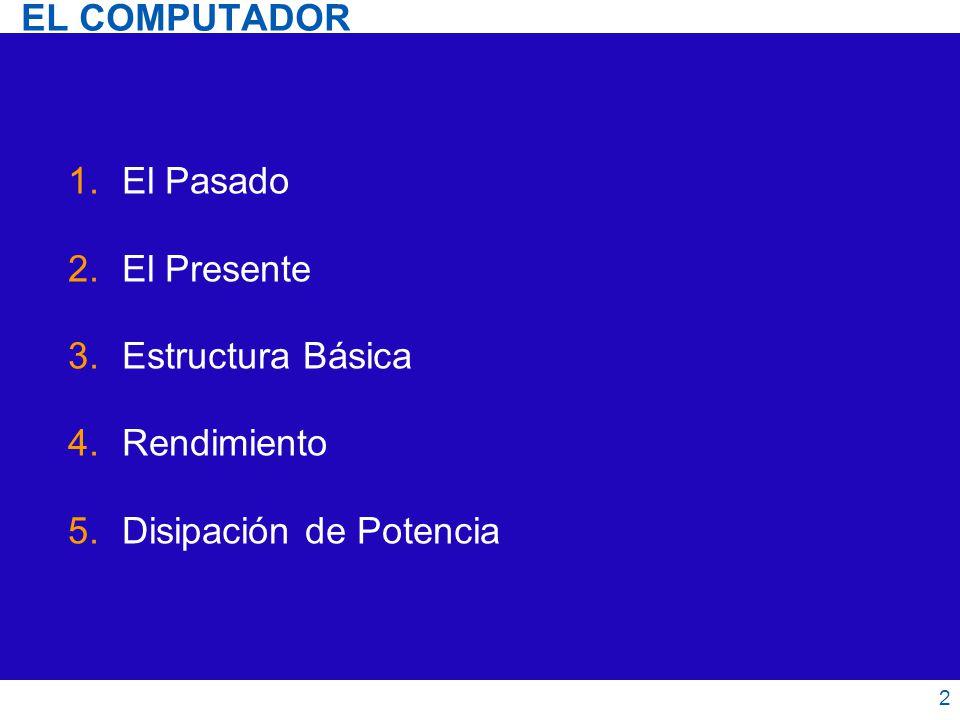 EL COMPUTADOR 1.El Pasado 2.El Presente 3.Estructura Básica 4.Rendimiento 5.Disipación de Potencia 2