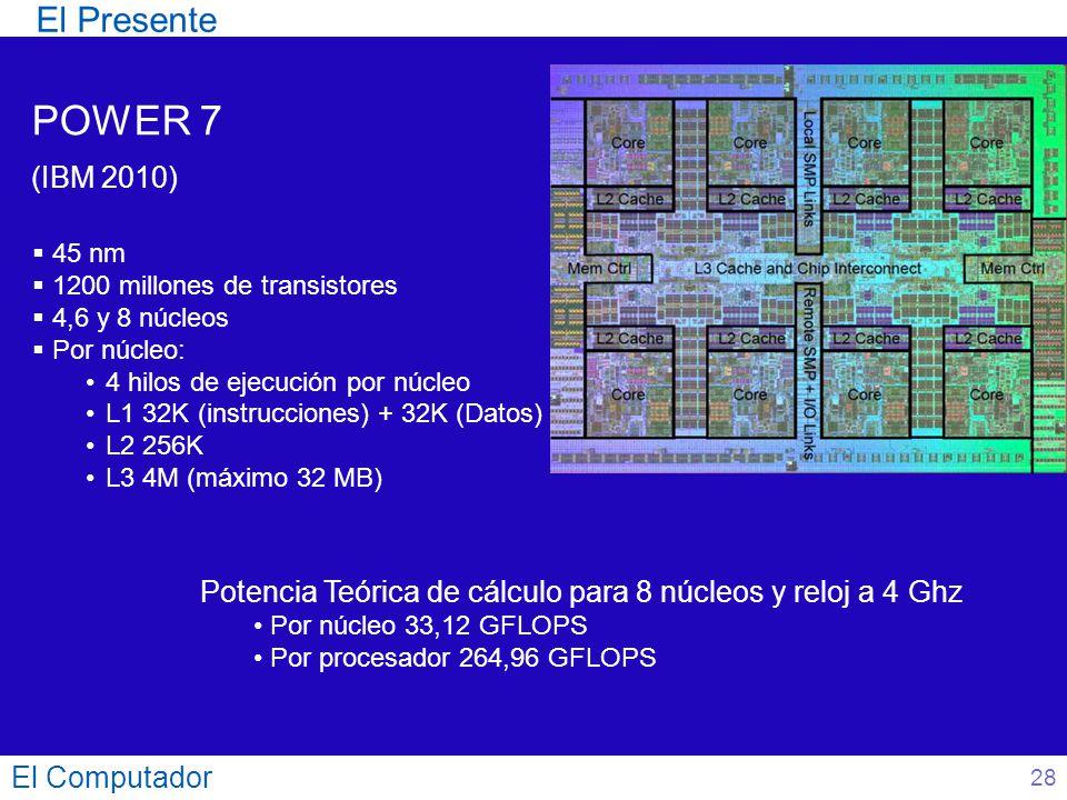 El Computador 28 El Presente POWER 7 (IBM 2010) 45 nm 1200 millones de transistores 4,6 y 8 núcleos Por núcleo: 4 hilos de ejecución por núcleo L1 32K