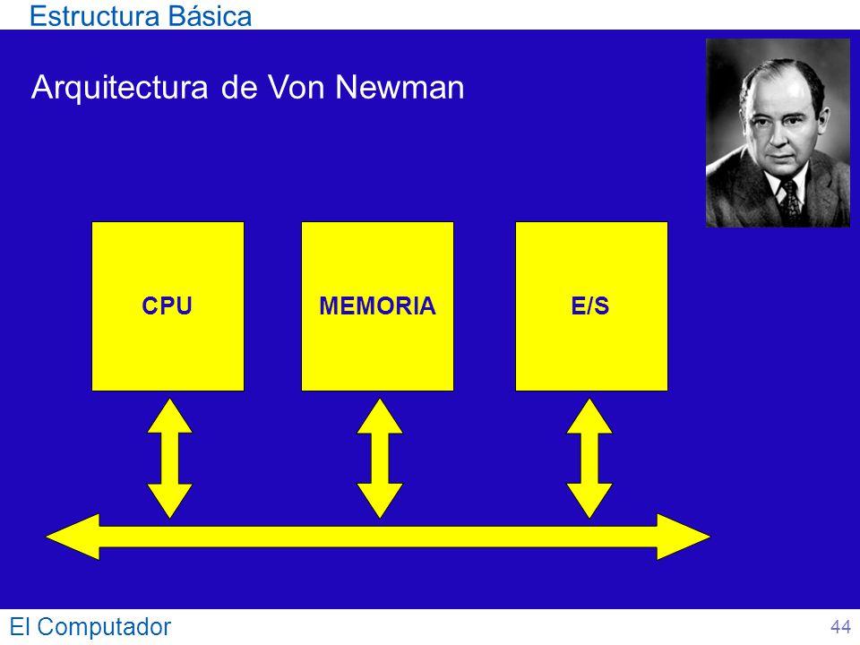 El Computador 44 Arquitectura de Von Newman CPUMEMORIAE/S Estructura Básica