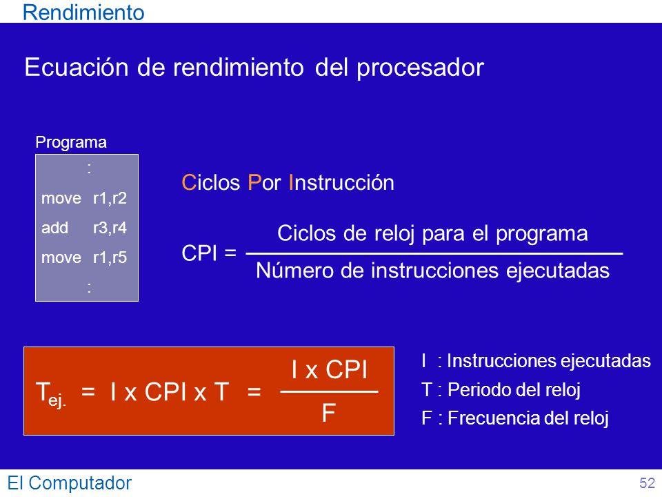 Ecuación de rendimiento del procesador El Computador CPI = Ciclos de reloj para el programa Número de instrucciones ejecutadas Ciclos Por Instrucción