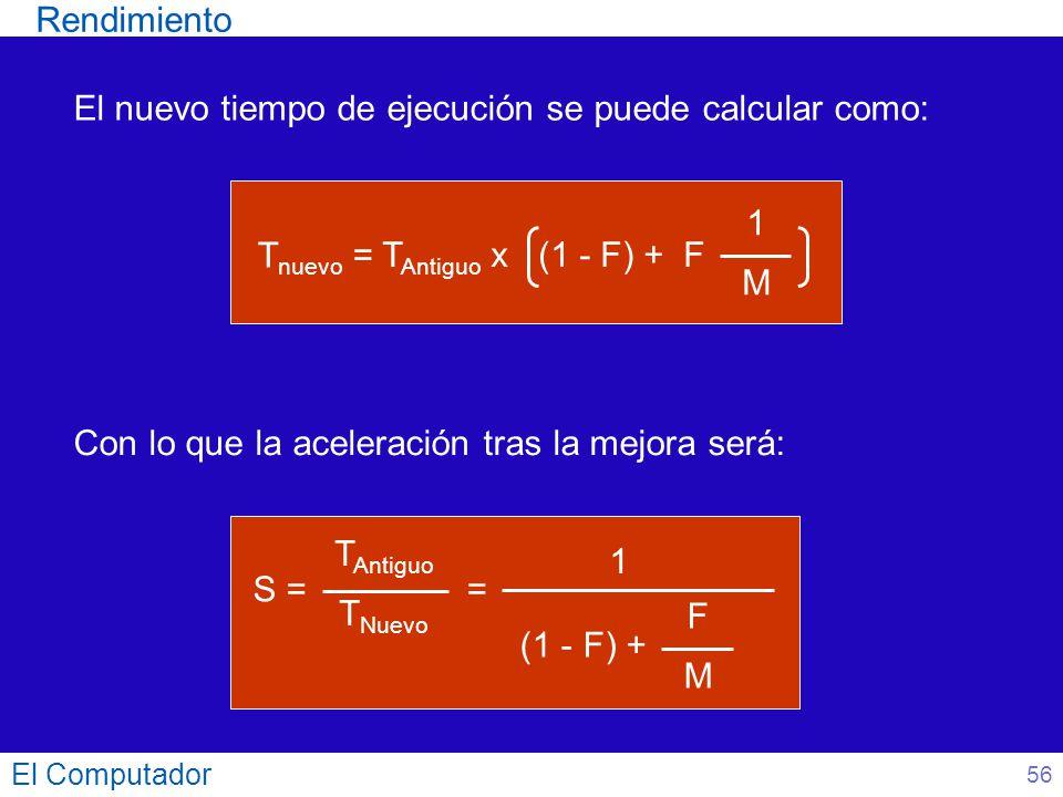 El Computador El nuevo tiempo de ejecución se puede calcular como: Con lo que la aceleración tras la mejora será: (1 - F) + S = T Antiguo T Nuevo = FM