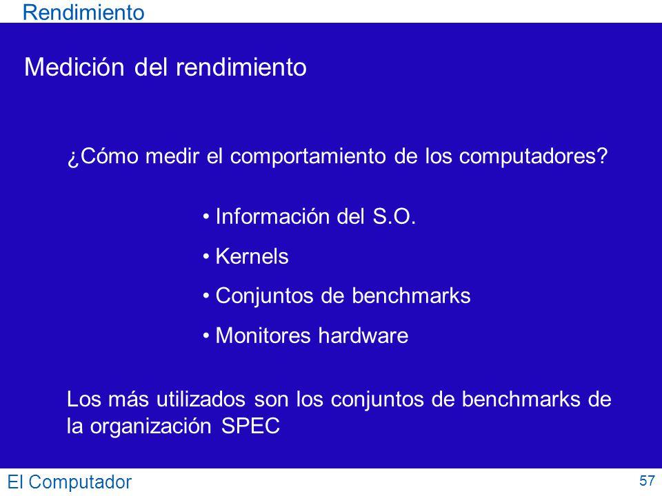 57 Medición del rendimiento ¿Cómo medir el comportamiento de los computadores? Información del S.O. Kernels Conjuntos de benchmarks Monitores hardware