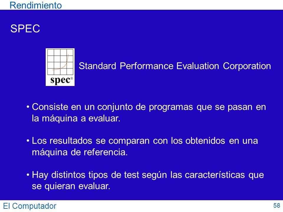 58 SPEC Standard Performance Evaluation Corporation Consiste en un conjunto de programas que se pasan en la máquina a evaluar. Los resultados se compa