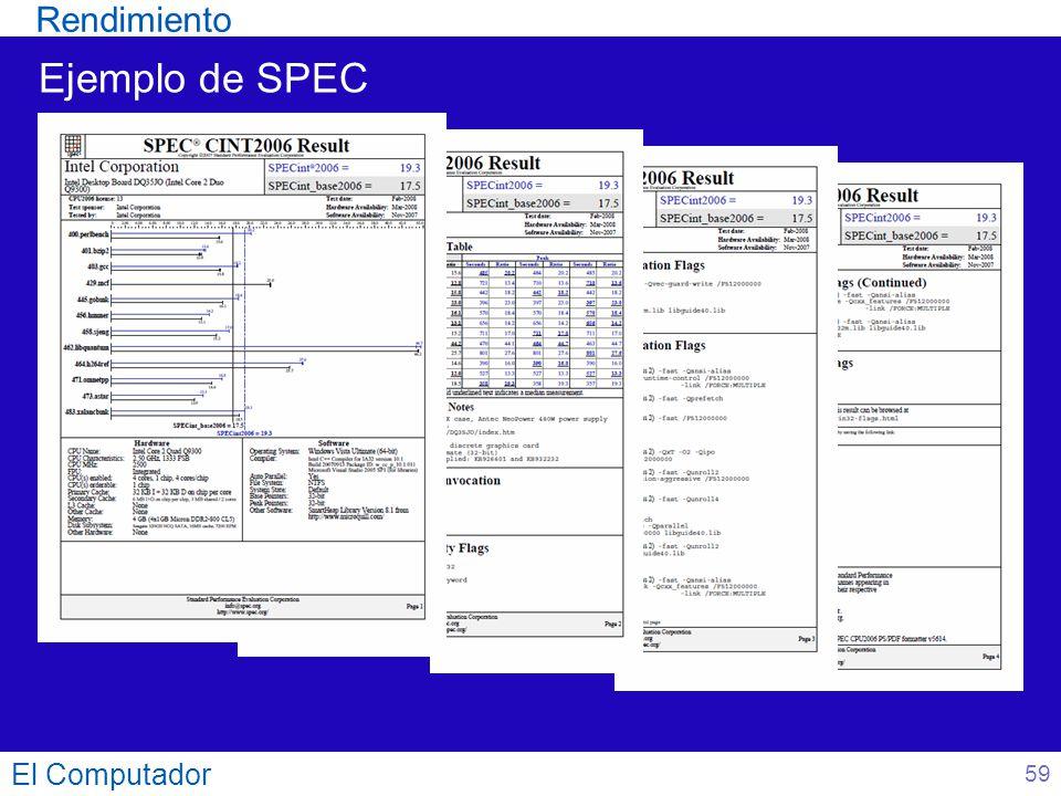 El Computador 59 Ejemplo de SPEC Rendimiento