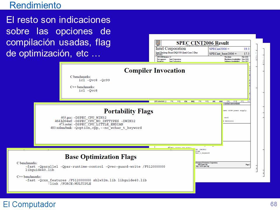 El Computador 68 El resto son indicaciones sobre las opciones de compilación usadas, flag de optimización, etc … Rendimiento